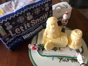 quick and easy North Pole Breakfast ideas.  Sculpted Christmas Butter
